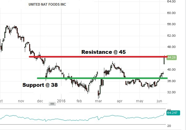 United Natural Foods - Technical Analysis - 9th June 2016