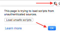 How to enable loading of unsafe scripts on Google Chrome