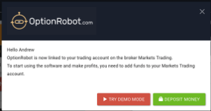 OptionRobot Popup - Demo or Deposit