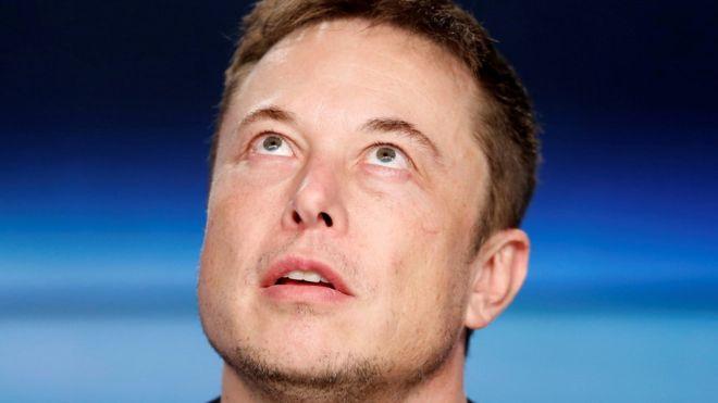 Elon Musk looking up - photo - July 2018