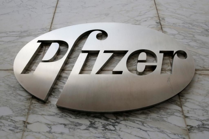 Pfizer metal logo against a wall - photo - 12th October 2018