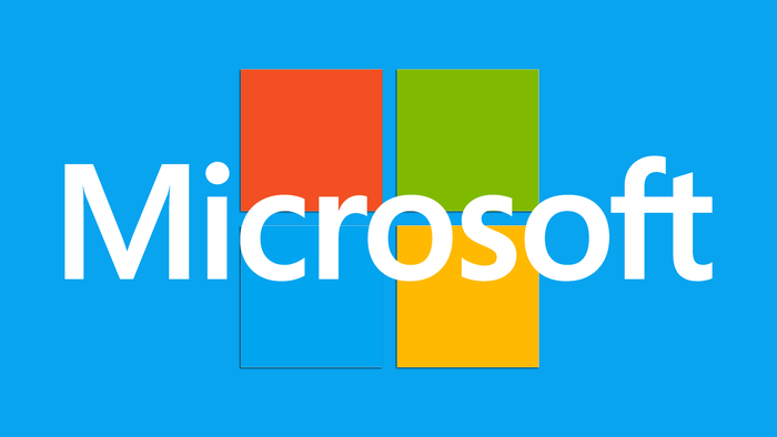 Microsoft logo on four colored blocks with blue background - graphic - 26th April 2019