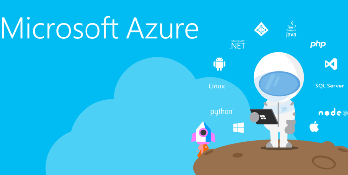 Microsoft Azure with astronaut and various programming language icons - graphic - 9th May 2019