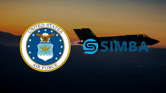 US Air Force and SIMBA chain logo with a fighter plane in the background - graphic - 29th Aug 2019