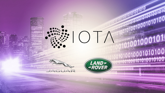 IOTA, Jaguar, and Land Rover logos on data string background - graphic - 3rd Sept 2019