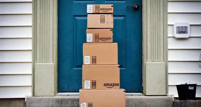 Amazon packages standing in front of door - photo - 4th Sept 2019