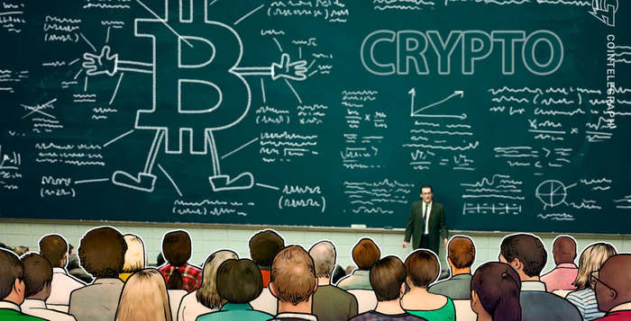 Blackboard with crypto symbols in a class - graphic - 5th Nov 2019