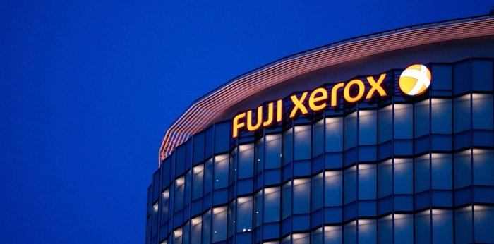 Night shot of a building with Fuji Xerox name on - photo - 6th Nov 2019