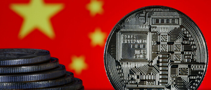 Chinese flag with a mock-up of a digital coin in the foreground - graphic - 14th Jan 2020