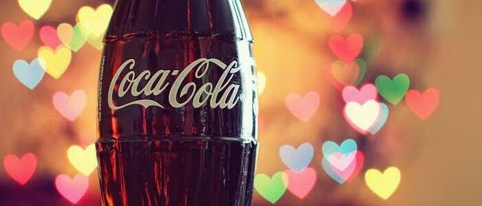 Bottle of Coca-Cola with heart lit background - photo - 31st Jan 2020