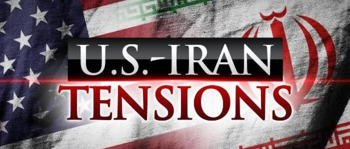 US and Iranian flags with the words 'U.S.-Iran Tensions' - graphic - 9th Jan 2020