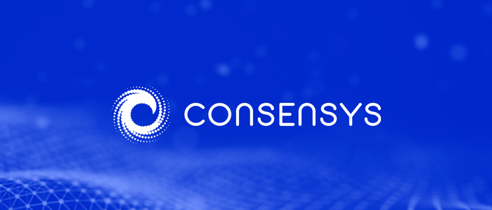 ConsenSys logo on a blue background - graphic - 6th Feb 2020