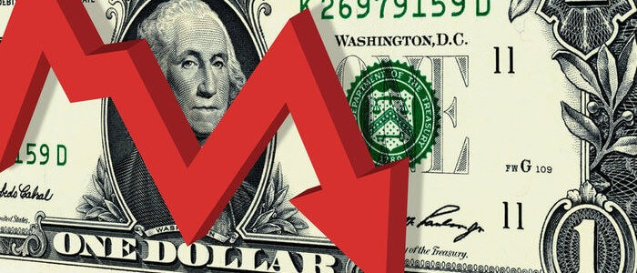 US dollar bill with red downward arrow - graphic - 14th May 2020