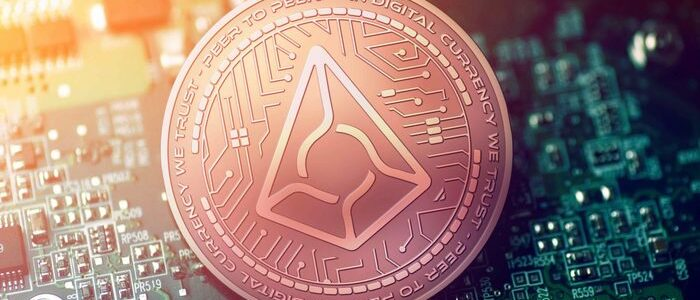 Augur logo on crypto coin
